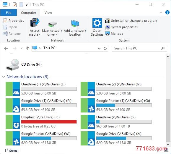 RaiDrive: 免费软件 / 将你的网盘映射为本地磁盘 / 支持Google Drive、OneDrive、WebDAV等